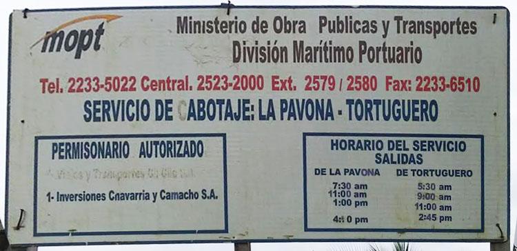 Horarios Tortuguero